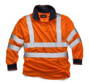 standsafe hi vis long sleeve polo orange