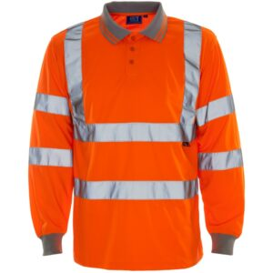 hi vis long sleeve bird eye polo orange