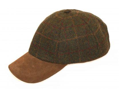tweed baseball hat with suede peak